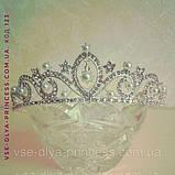 Діадема корона тіара під срібло з перлами, висота 4 див., фото 4