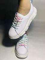Жіночі кеди-кросівки білі з перфорацією на широку ногу. Розмір 36.37.38.40 Vellena, фото 2