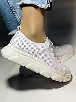 Жіночі кеди-кросівки білі з перфорацією на широку ногу. Розмір 36.37.38.40 Vellena, фото 3