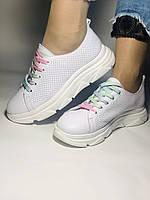 Жіночі кеди-кросівки білі з перфорацією на широку ногу. Розмір 36.37.38.40 Vellena, фото 4