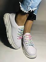 Жіночі кеди-кросівки білі з перфорацією на широку ногу. Розмір 36.37.38.40 Vellena, фото 5
