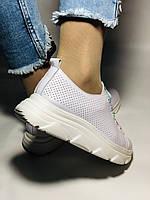 Жіночі кеди-кросівки білі з перфорацією на широку ногу. Розмір 36.37.38.40 Vellena, фото 6