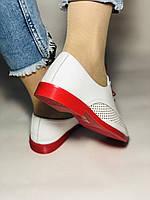Evromoda. Стильные женские белые туфли мокасины с перфорацией Турция. Размеры 36.37.38.39.40 Vellena., фото 3