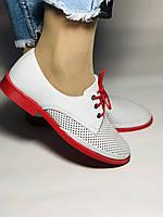 Evromoda. Стильные женские белые туфли мокасины с перфорацией Турция. Размеры 36.37.38.39.40 Vellena., фото 2