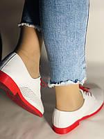 Evromoda. Стильные женские белые туфли мокасины с перфорацией Турция. Размеры 36.37.38.39.40 Vellena., фото 6