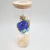 Роза в колбе UKC с LED подсветкой 23 см Синяя (hub_eIfx15077)