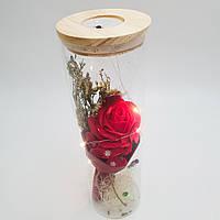 Роза в колбе UKC с LED подсветкой 23 см Красная (hub_LonC65750)