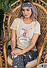 Пижама женская штаны, футболка и маска для сна Турция