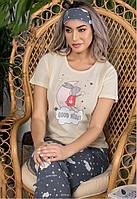 Пижама женская штаны, футболка и маска для сна Турция, фото 1