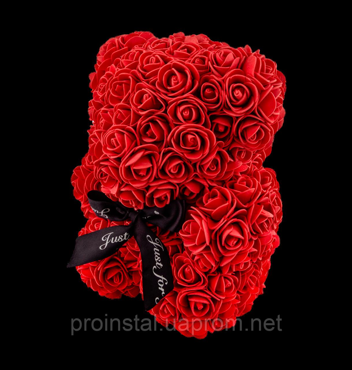 Мягкая игрушка Мишка 3D розы 25 см Красный