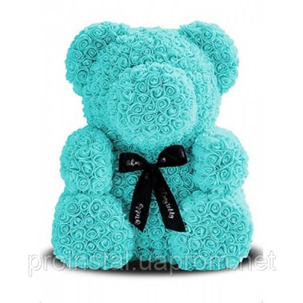 Мягкая игрушка Мишка 3D розы 25 см Бирюзовый