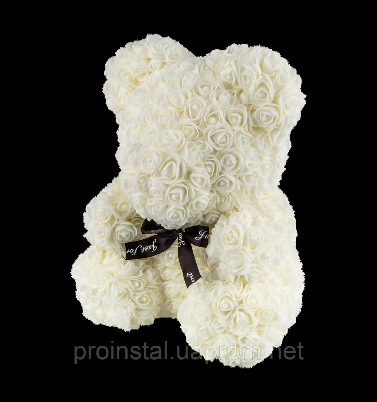 Мягкая игрушка Мишка 3D розы 40 см Белый