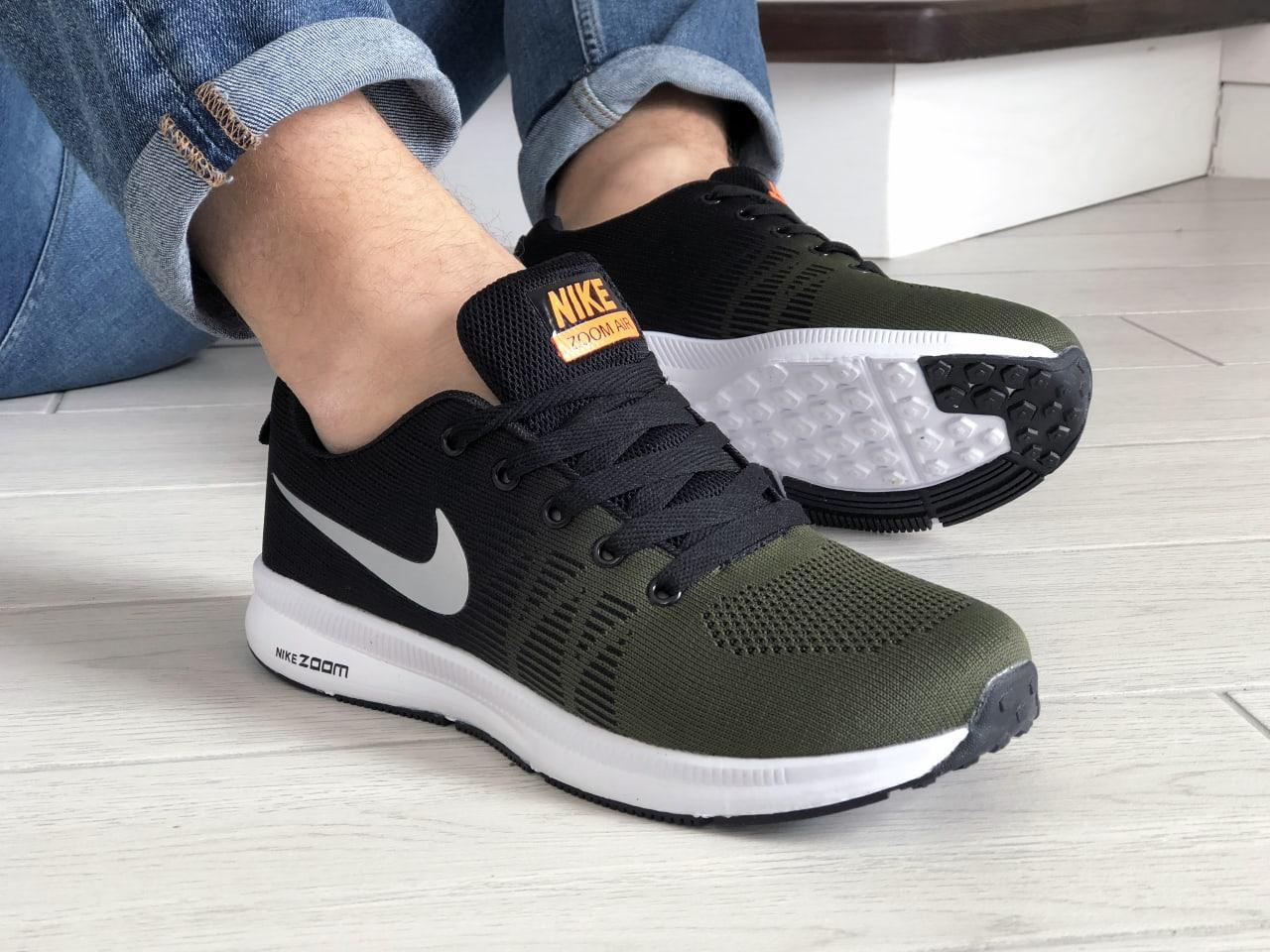 Стильные молодёжные кроссовки темно зелёные с чёрным с белой подошвой 42 и 44 размер