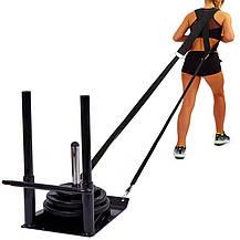 Сани тренировочные для кроссфита + петли Zelart ECONOMY SLED (металл, основание р-р 56х44см, h-80см), фото 2