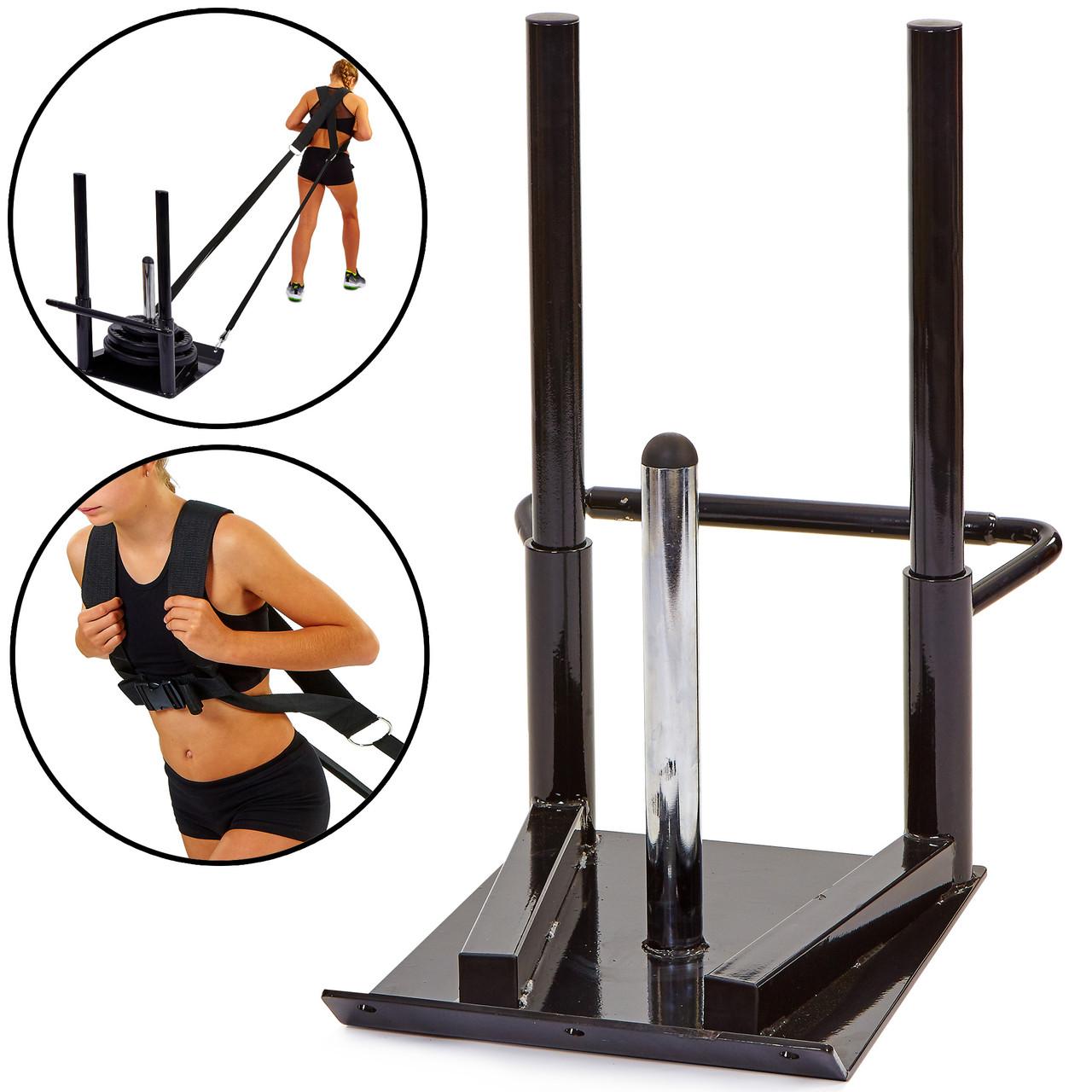 Сани тренировочные для кроссфита + петли Zelart ECONOMY SLED (металл, основание р-р 56х44см, h-80см)