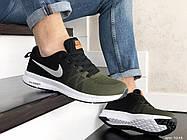 Стильные молодёжные кроссовки темно зелёные с чёрным с белой подошвой 42 и 44 размер, фото 2