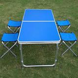 Стол туристический складной, для пикника, для рыбалки 4 стула 120*60*70 Синий Folding Table, фото 5