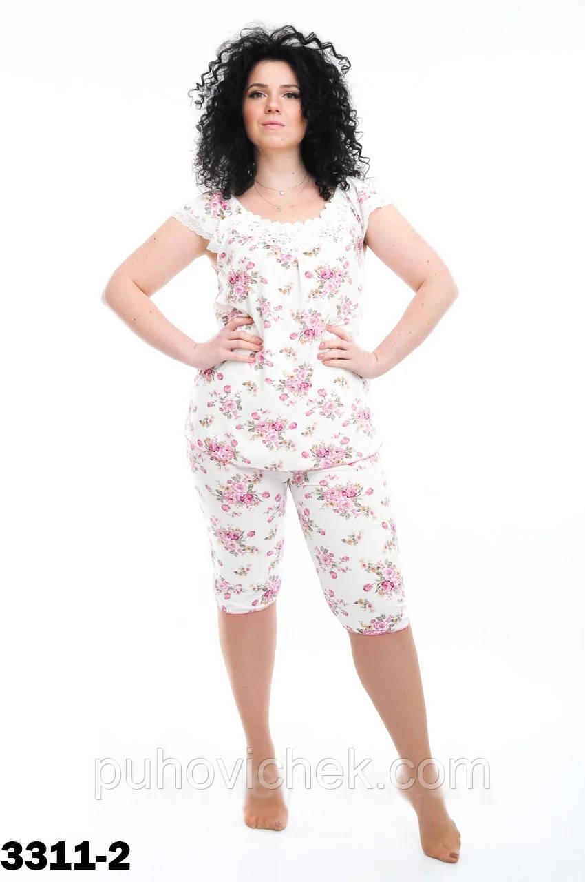 Пижама женская в цветочек размеры 46-56
