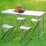 Стол туристический складной, для пикника, для рыбалки 4 стула 120*60*70 Синий Folding Table, фото 9