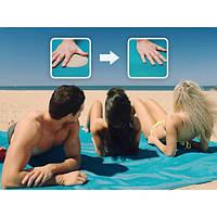 Пляжное покрывало анти песок 200х200 см Голубое(2028)