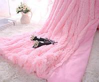 Плед мех, травка, длинный ворс - розовый