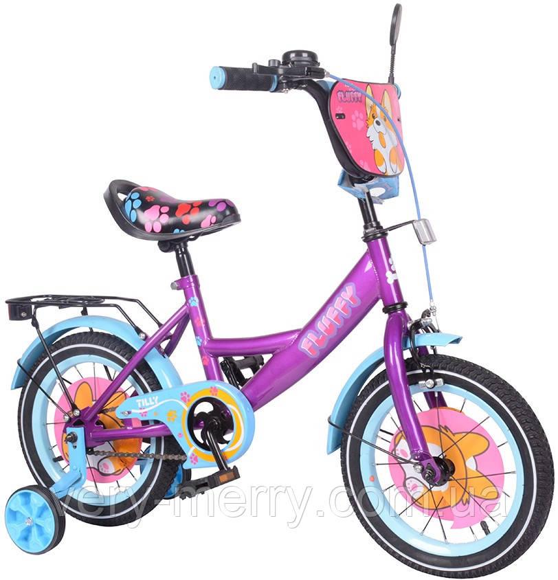 """Дитячий велосипед двоколісний Tilly Fluffy 14"""" (фіолетовий колір) зі страхувальними колесами"""