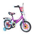 """Дитячий велосипед двоколісний Tilly Fluffy 14"""" (фіолетовий колір) зі страхувальними колесами, фото 3"""