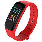 Фитнес браслет, умные смарт часы C1 Plus шагомер пульсометр давление Красный 01478