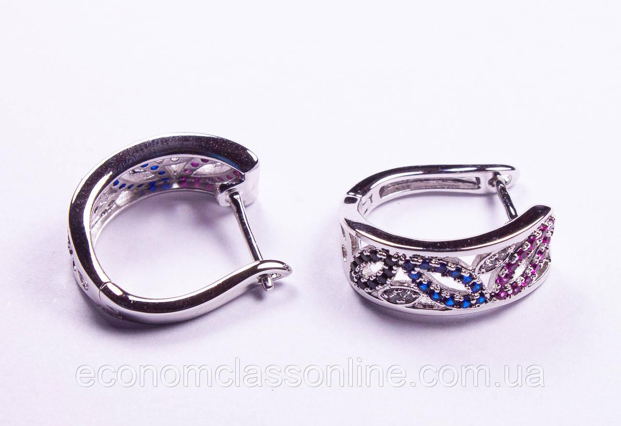 Сережки з різнокольоровими каменями R6700 Rhodium color 3