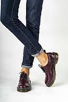 Женские стильные кожаные туфли на шнурках. Цвет бордо.