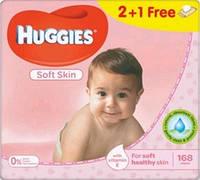 Huggies влажные салфетки детские Soft Skin 56шт (2+1 Free)