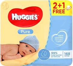Huggies влажные салфетки детские Pure 56шт (2+1 Free)