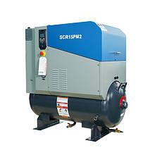 Компресор SCR 15 2PM (11 кВт, 1.75 м3/хв) ресивер, частотник, двигуном на постійних магнітах РМ