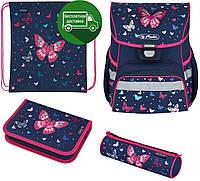 Ранец Herlitz Loop Butterfly Бабочки с наполнением вышивка с пайетками, портфель для младшей школы