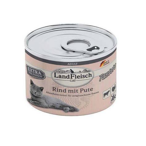 Паштет для котов LandFleisch из говядины и индейки, 195 г, фото 2