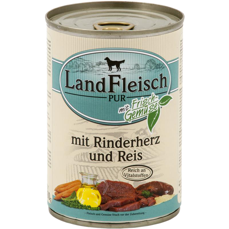 Консервы для собак LandFleisch с говяжьим сердцем, рисом и свежими овощами, 400 г