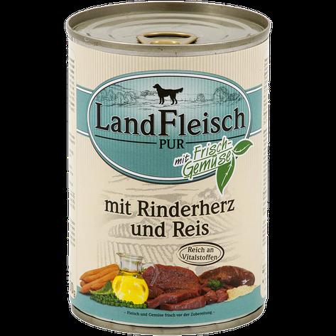 Консервы для собак LandFleisch с говяжьим сердцем, рисом и свежими овощами, 400 г, фото 2