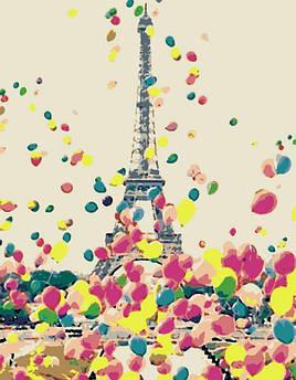 """Картина по номерам. Эйфелева Башня, воздушные шары """"Яркий Париж"""" 35х45см БЕСПЛАТНАЯ ДОСТАВКА """"Justin"""""""