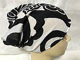 Косынка повязка Солоха на резинке цвет белый с чёрным, фото 6
