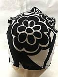 Косынка повязка Солоха на резинке цвет белый с чёрным, фото 3