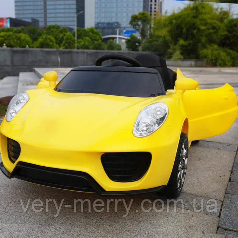 Дитячий електромобіль Porsche (жовтий колір) з пультом дистанційного правління