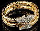 Набор колье и   браслет  золотого  цвета с кристаллами в виде   змеи, фото 4