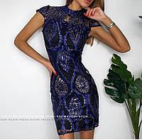 Нарядное женское платье мини с вышивкой 42-46 р