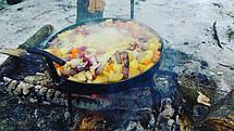Сковорода из диска бороны 40см с крышкой для пикника рыбалки или отдыху на природе и дачи, фото 3