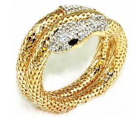 Браслет  золотого  цвета с кристаллами в виде   змеи