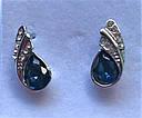 Серьги   серебряного цвета с  темно синими австрийскими кристаллами, фото 2