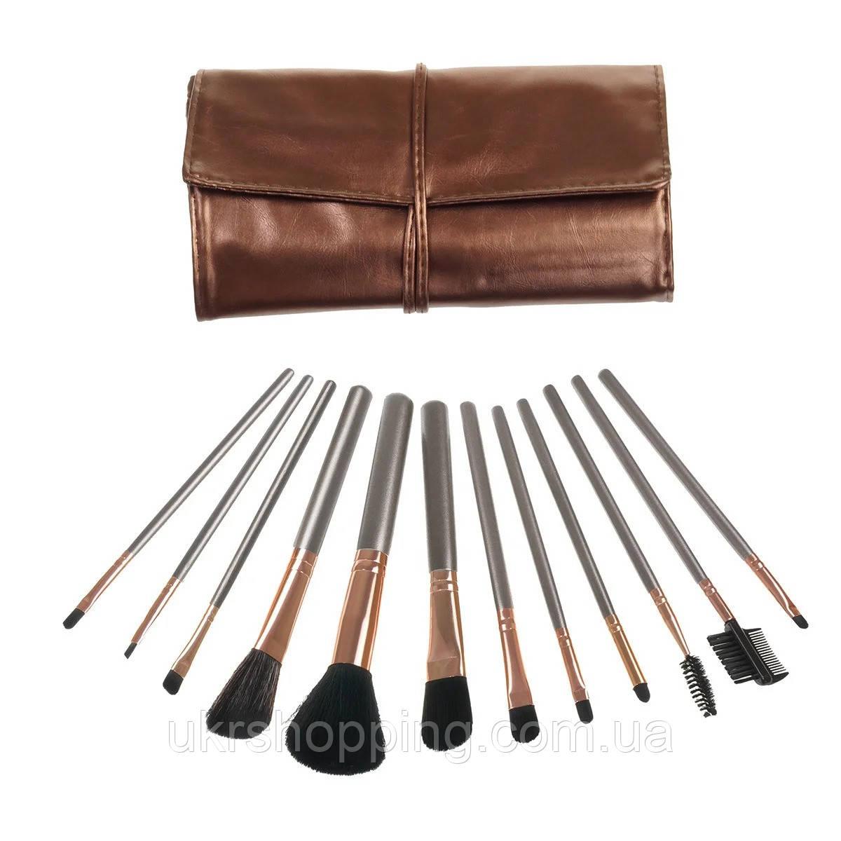 Набор кистей (кисточек) для макияжа в чехле (12 шт) кисти для макияжа (пензлі для макіяжу)