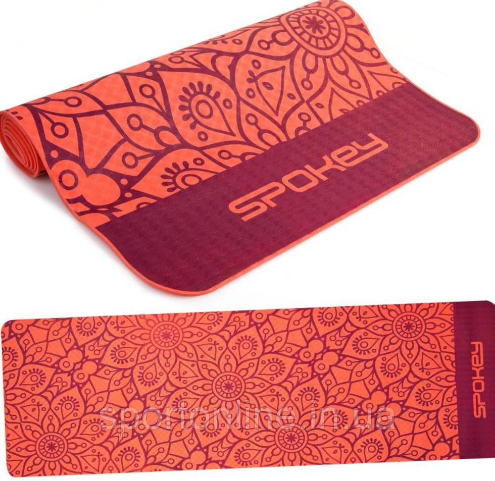 Коврик для йоги и фитнеса Spokey Mandala 926051, красный