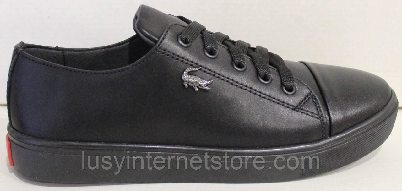 Кроссовки черные женские кожаные от производителя модель АНЖ307