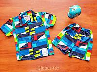 Рубашка шведка с шортами летняя х/б комплект детская для мальчика, кулир, размер 26/28 (30/32)
